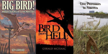 covers of three non-fiction books about living pterosaurs in North America